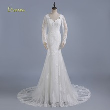 Loverxu Long Sleeve Mermaid Wedding Dresses Court Train