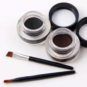 New 2 in 1 Coffee + Black Gel Eyeliner Make Up Waterproof Cosmetics Set Eye Liner Makeup Eye Eyeliner