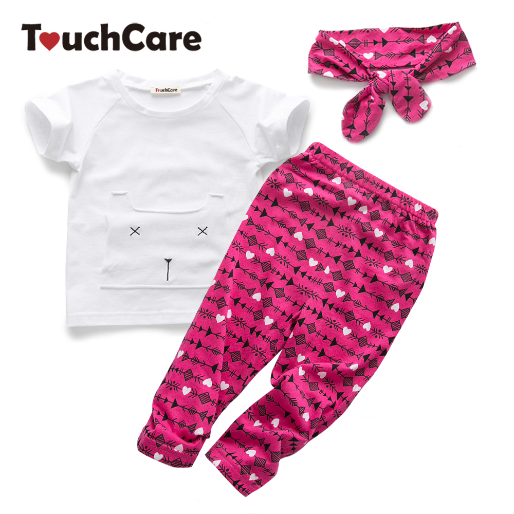 Clearance Self-Designed 3Pcs Lot Newborn Baby Girl Clothes Top + Pant + Headband Baby Set Cat Pocket Bebek Giyim For Newborns clearance 2pcs set baby boy clothes cartoon pattern baby clothing sets summer black white top pant for newborns bebk giyim