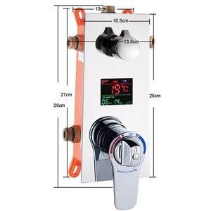 Image 5 - BAKALA Plein Chrome Regendouche Kraan Handdouche Sproeier Mixer Badkamer Douchekraan Set Thermostatische Douchekraan