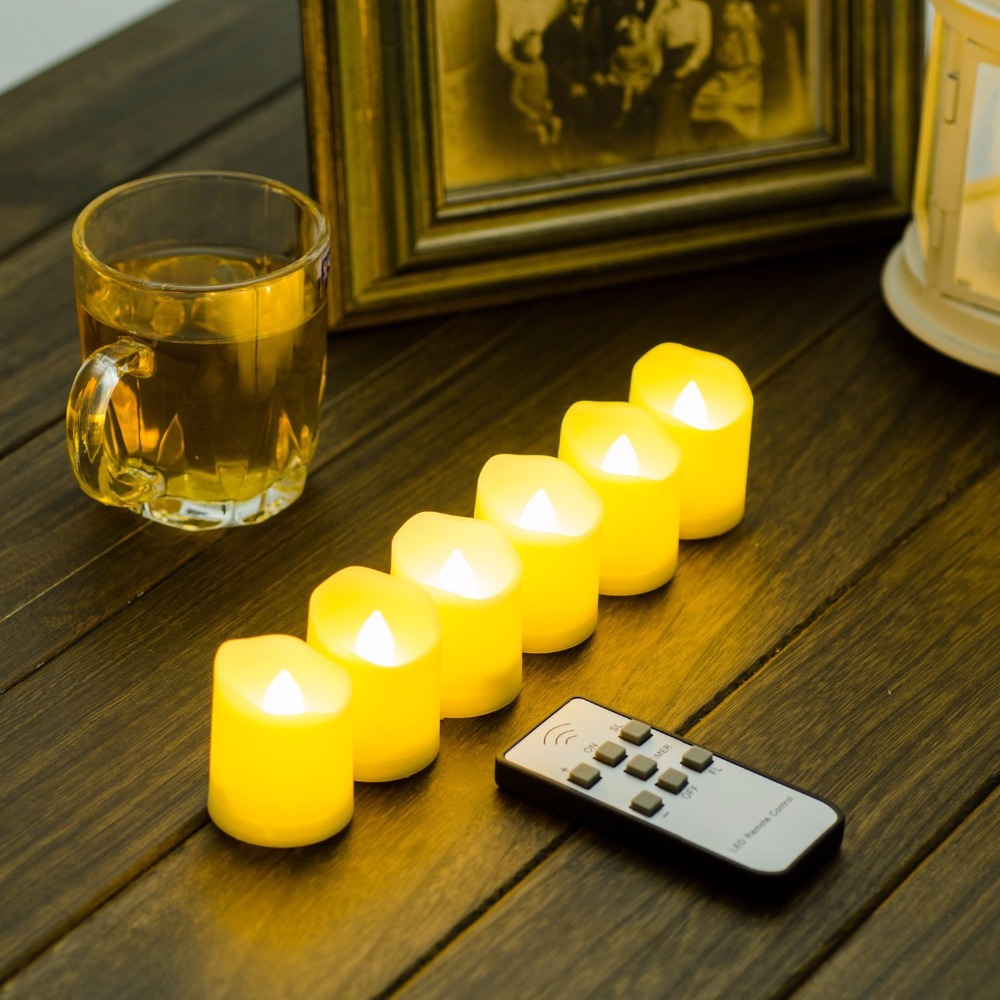 Set of 6 White Flickering LED Flameless Candles with Remote Control and Timer Function, Brightness and Flicker,6 hours on