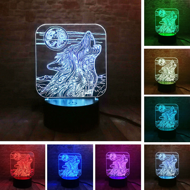 Toys & Hobbies Whistling Wolf Animal Figure Flash Model 3d Illusion Led Nightlight Luminous Colorful Changing Light Desk Lamp Model Toys