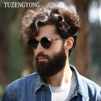 TUZENGYONG Fashion HD Polarized Sunglasses Men Women Round Metal Carving Vintage Sun Glasses Gothic Steampunk Sunglass