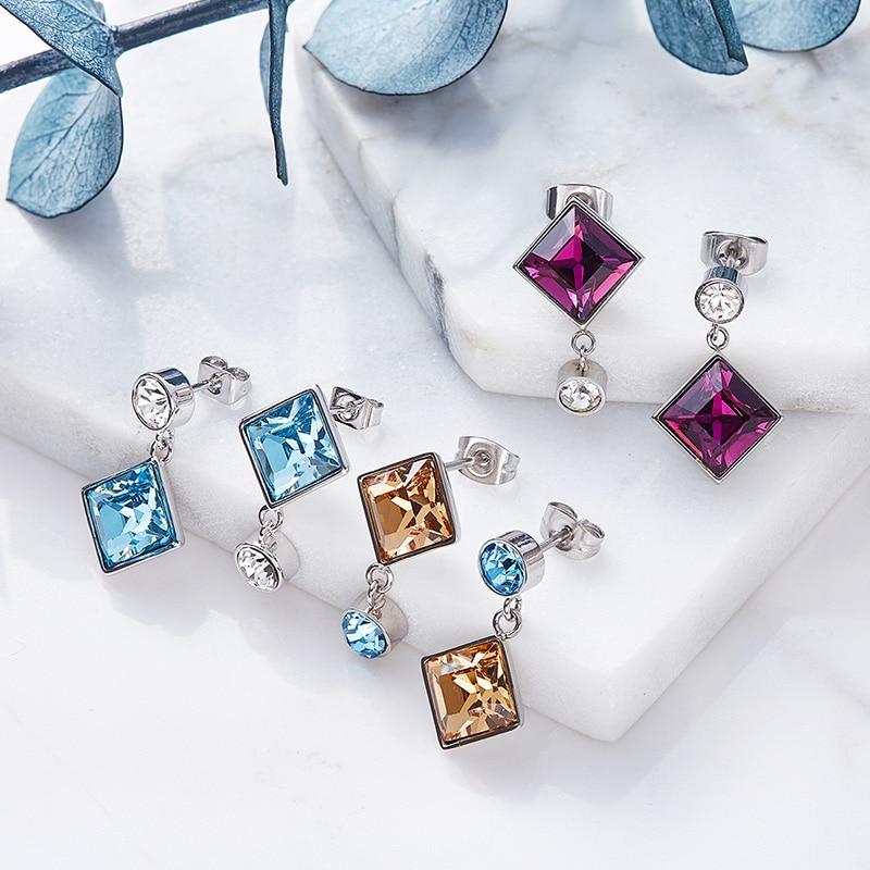 Cdyle Women Drop Earrings Crystals From Swarovski Luxury Gold Blue Purple Fashion Jewelry Square Stone Earring In
