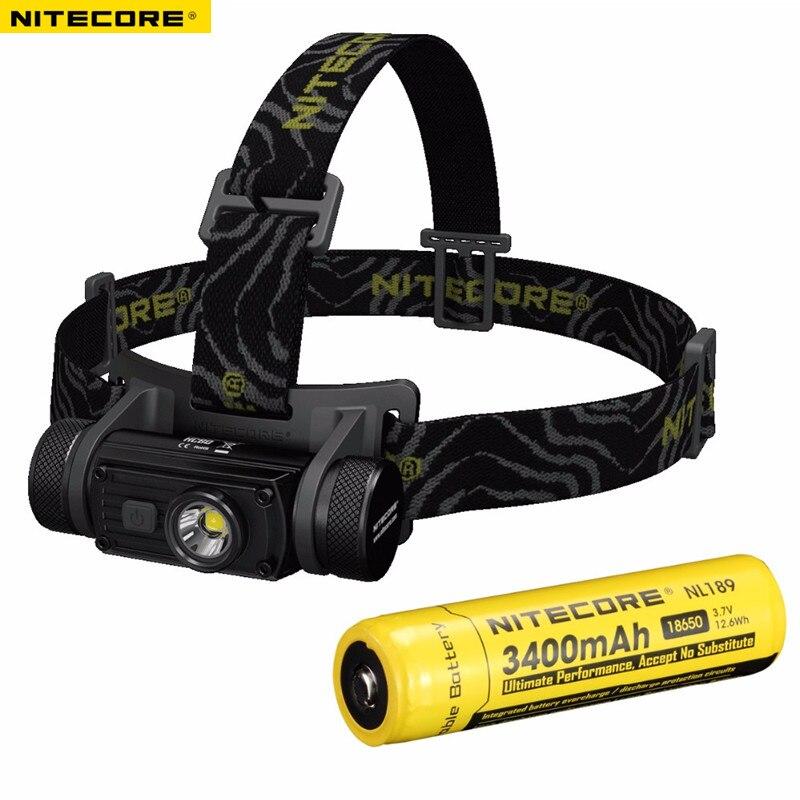 Phare LED NITECORE HC60 XM-L2 U2 max. 1000LM Distance de faisceau 117 mètres phare rechargeable avec une batterie 18650 3400 mAh