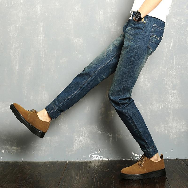 2018 Brand Fashion Mens Harem Jeans Washed Feet Shinny Denim Pants Hip Hop Sportswear Elastic Waist Joggers Pants Size M-3XL