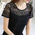 Summer Women's Hollow Out Lace T Shirt Short Sleeve Crochet T-shirt Female Tops
