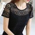 Verão das Mulheres Oco Out Lace T Camisa Topos de Crochê de Manga Curta T-shirt Feminina