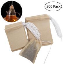 200 шт нетканые чайные пакетики на шнурке, пакетики для чая, пустые бумажные пакетики для чая, пакетики для чая, порошковые травы
