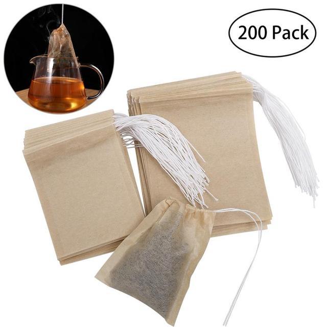 200 piezas de telas no tejidas Teabags bolsa de té con cordón filtro de papel bolsas de té vacías para té de hoja suelta polvo de hierbas