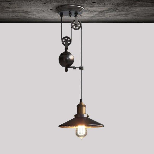 Diy Led Pendant Lamps Kitchen Retro Edison Light Study Room Black Pulley