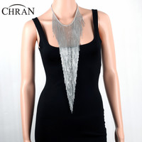 CHRAN Fashion Brand Jewelry Full Metal Sexy Women Silver Color Tassels Necklace Body Chain Accessories