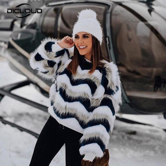 11ddaad4dda4 2018 Winter Hoodies Sweatshirts Women Blue White Faux Fur Jackets Coats  Girls Fluffy Shaggy Outerwear Chic