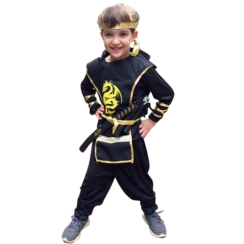Snailify Anime Japanese Ninja Cosplay Boys Halloween Costume For Kids Samurai Black Dragon Warrior Children Party Clothes Katana