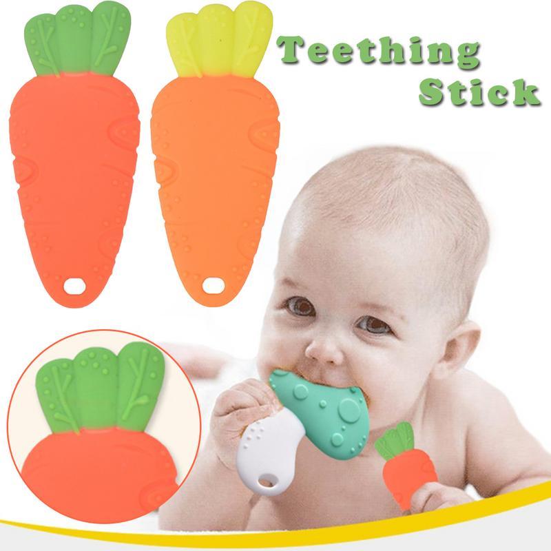 Jouet de dentition pour nouveau-né en forme de carotte en silicone pour enfants