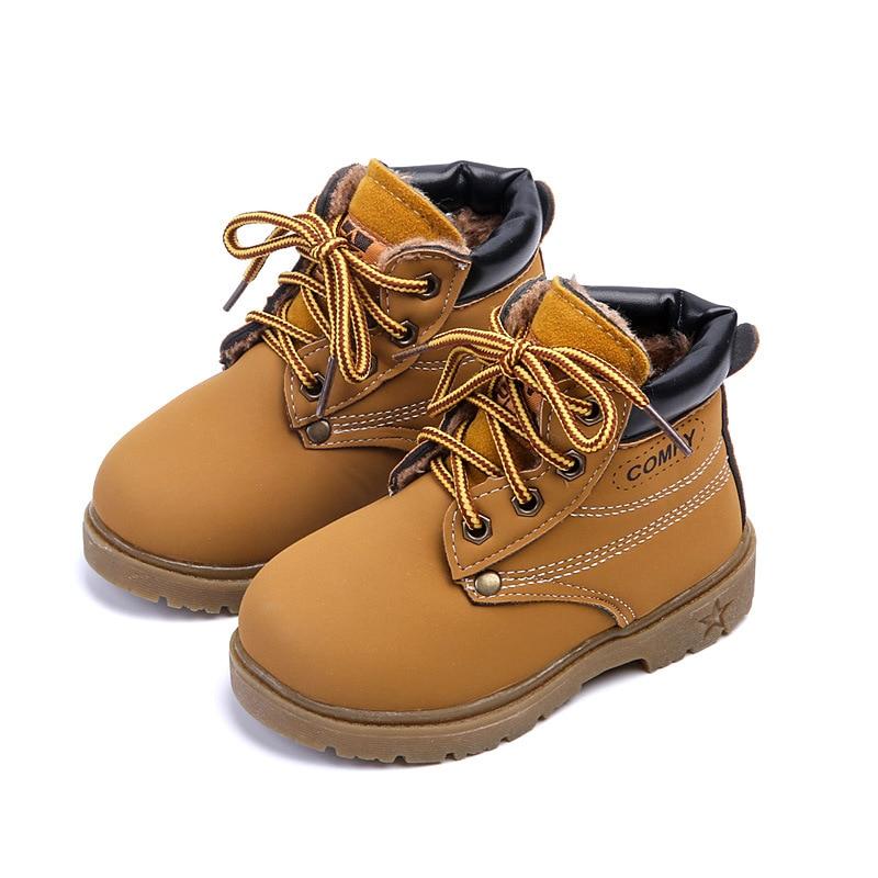 Anak Menebal Sepatu anak laki-laki dan perempuan Musim Gugur musim dingin Fleksibel sekolah siswa anak Ditambah beludru PU kulit sepatu warna solid
