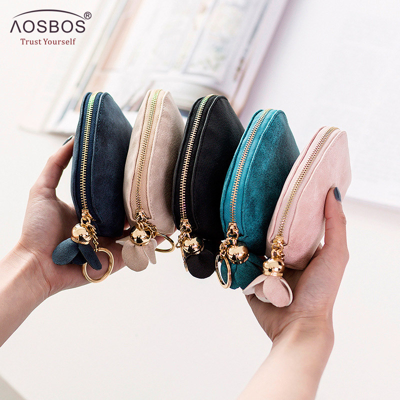 2019 Aosbos Women Small Key Case Mini Cute Wallet Money Bag Holder Zip Purse Clutch Handbag For Girl Kid Flower Coin Pouch