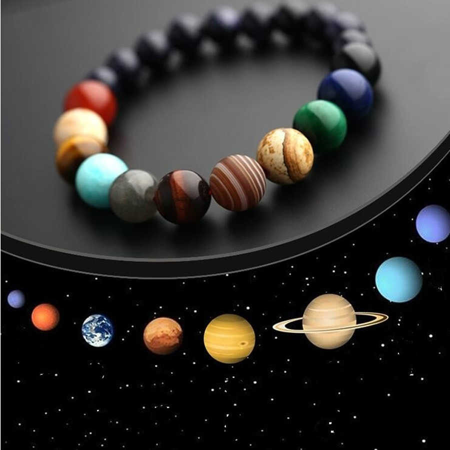 Eight planets Blue Sandstone Moon Stone Crystal Natural Stone Beads Galaxy Planets Solar System chakra Bracelet Bangle dropship