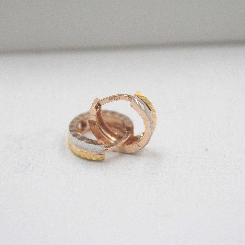 Pur 18 K multi-tons or mode petites boucles d'oreilles personnalisé demoiselles d'honneur cadeau mignon boucles d'oreilles 2-2.3g bijoux de tous les jours - 3