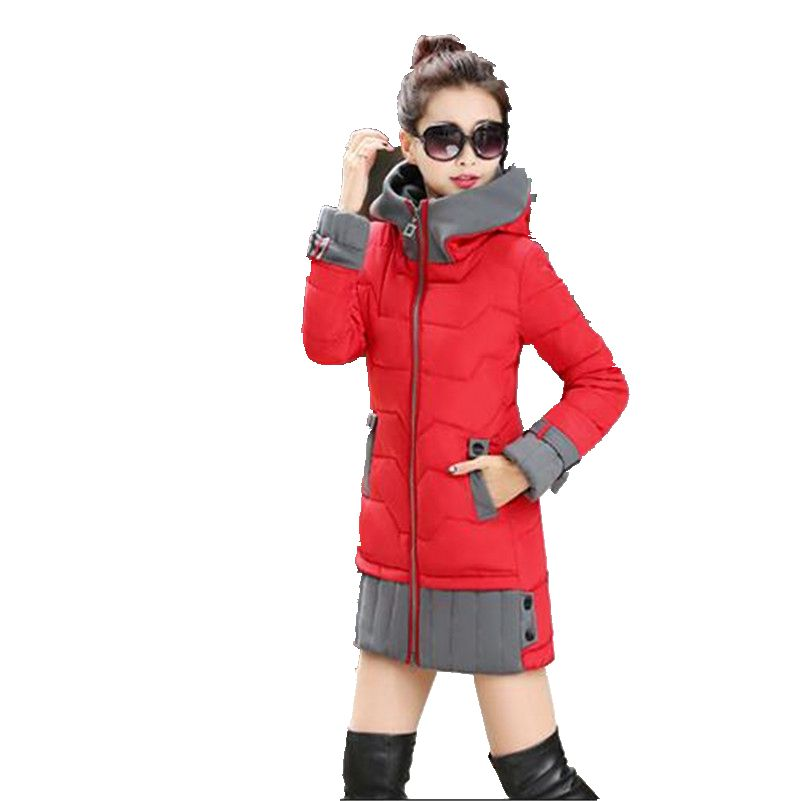 2016 Winter Latest Fashion Women Big Yards Down Jacket Hooded Keep Warm Loose Leisure Long Sleeve Long Cotton Down Jacket G0786