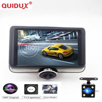 QUIDUX 4.5 Full HD 1440p IPS Touchscreen Car DVR 360 degree Panorama Recorder Camera Dashboard Camcorder Fisheye Night Vision