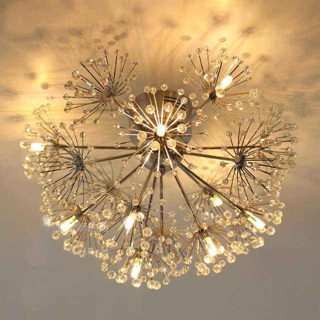 Dandelion European luxury romantic creative bedroom restaurant ceiling lamp modern simple LED crystal ceiling lamp led ceiling