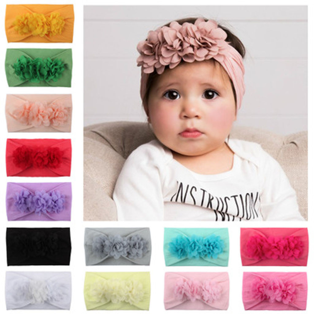 Infant Girls Baby Toddler Turban Solid Headband Floral Hair Band Flower Accessories Cute Headwear Suit For 0-2 Years Old Baby