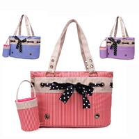 Fashion Stripe Dog Cat Pet Carrier Bags Travel Mesh Tote Handbag Dog Backpack With Snack Bag