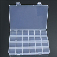 24 Compartments Transparent Plastic Storage Box Case Jewelry Beads Findings Craft Organizer Home Supplier