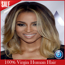 Best Short Wavy Blonde Ombre Full Lace Wig Bob Style Glueless Virgin Human Hair Lace Front Wigs Ombre Color 1b/613