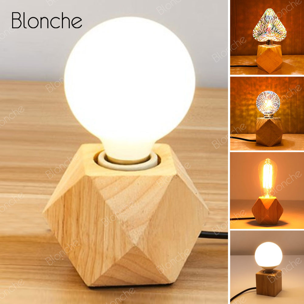 Desk Lamps Lamps & Shades Responsible Modern Led Table Lamp Wooden Desk Night Light For Living Room Bedroom Study Bedside Lamp Eu/us Plug Swtich Retro Luminaire E27