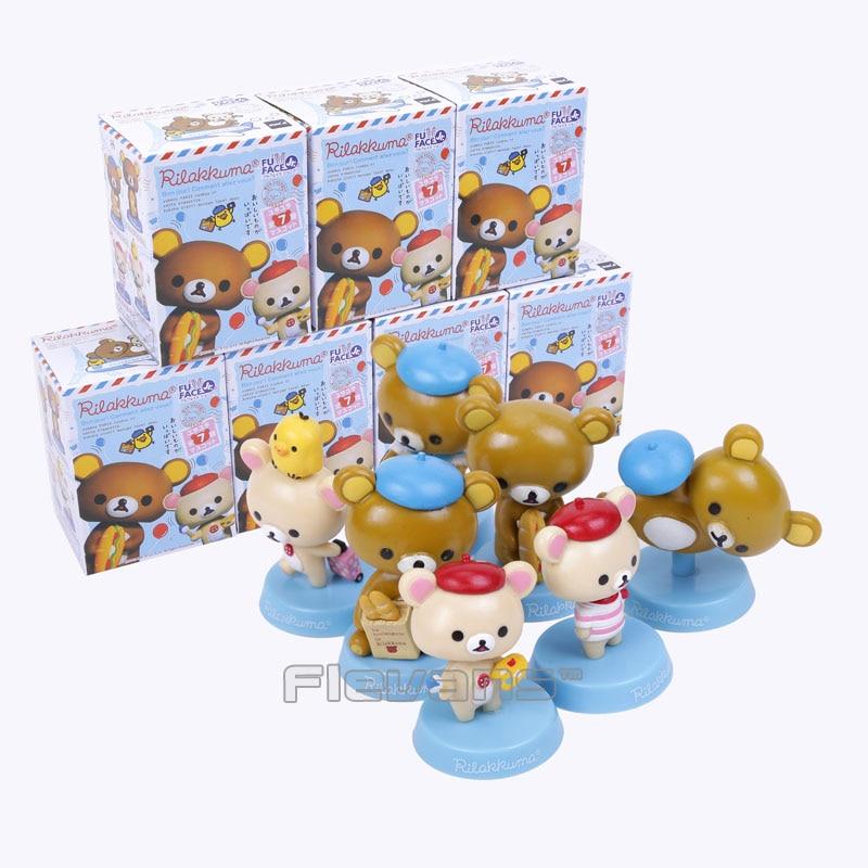 Cute Lovely Rilakkuma Bear Mini PVC Figures Dolls 7pcs/set Kids Toys Christmas & Brithday Gifts sonny angel mini figures easter series 6pcs set toys christmas