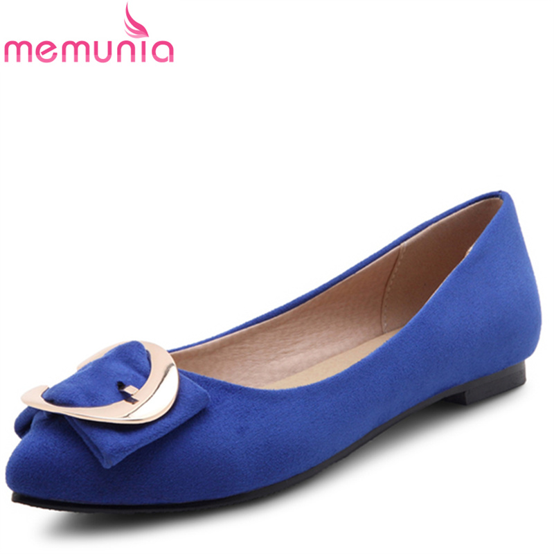 MEMUNIA 2017 fashion flock spring autumn single shoes women flats shoes solid pointed toe  college style big size 34-47 spring autumn solid metal decoration flats shoes fashion women flock pointed toe buckle strap ballet flats size 35 40 k257