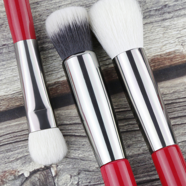 BEILI Red Professional Natural Hair Makeup Brushes Set Powder Foundation Blusher Eye Shadow Eyebrow Lip Eyeliner Contour 4