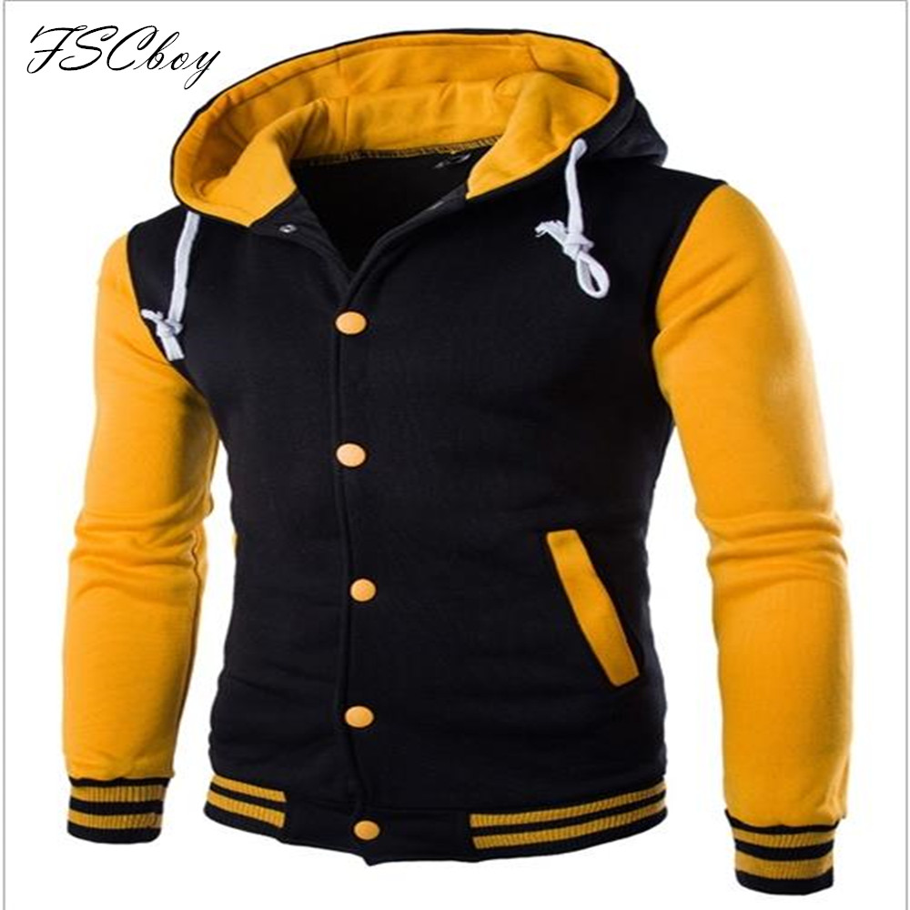 Fashion Color Combination Hoodies Men Button Hip Hop Mens Brand Solid Hooded Zipper Hoodie Cardigan Sweatshirt Slim Fit