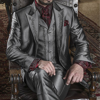 Hot Sale Navy 3 Piece Men's WeddingParty Suits Groom Tuxedos Best Men Suits Groomsman Tuxedo Custom (Jacket+Pants+Vest )