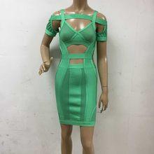 986dfa896ded wholesale New Dress green Spaghetti Strap Stretch knitting Celebrity  Fashion mini boutique Cocktail party Bandage dress (L1813)