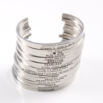 20PCS Silver Custom Stainless Steel Engraved Message Bracelet Personalized Positive Inspirational Letter  Bangle For Women
