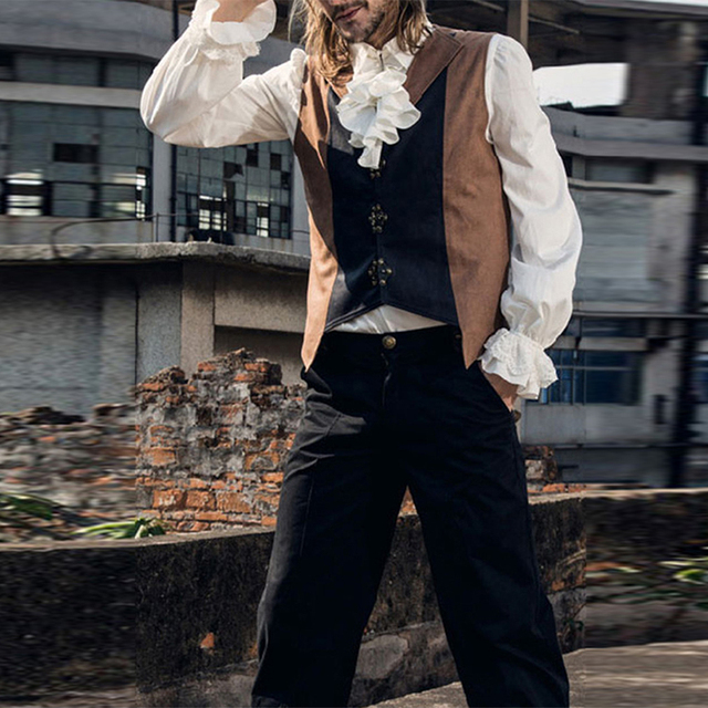 Homens da Camisa de Babados Blusas Camisas Hombre Camisa Homem Costumes Drama Middeleeuwse Medieval Smoking Branco Camisa de Manga Longa Blusa