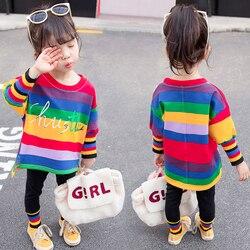 Rainbow Das Crianças dos miúdos Do Bebê Meninas Conjunto de Roupas de Outono Roupa Da Criança Roupa de Manga Longa Esporte Terno Agasalho para 1 2 3 4 5 anos