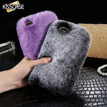 KISSCASE Rabbit Furry Case For iPhone 5s 5 SE Coque Luxury Glitter Diamond Cute Bunny Plush Cover Case For iPhone 5 5s SE Capa