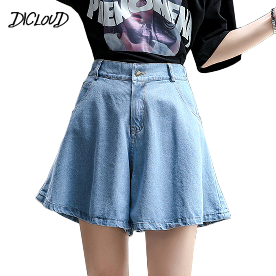 DICLOUD Fashion Wide Leg Jeans Woman 2018 Harajuku Stretch High Waist Denim Shorts Girl Blue Loose Casual Plus Size Jeans Pants