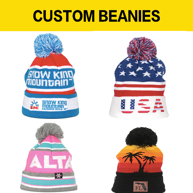 Custom Made knit   Beanie   Jacquard Knitted Cap for Kids and Adult headwear skull slouchy   beanie   toque ear flap pom pom MOQ 50PCS
