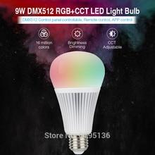 smart E27 9W DMX512 RGB+CCT LED Light Bulb AC100~240V indoor spiral led bulb 2700-6500K 850LM for restaurant bar home decoration