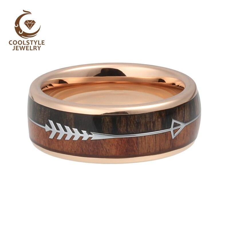 טבעת ממתכת בשילוב עץ וחריטה של חץ 6