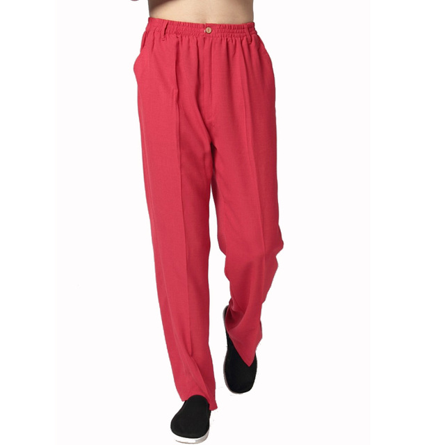 New Red Chinese Male Cotton Linen Pant Men Kung Fu Wu Shu Trousers Loose Casual Pants 4 Colors Size M L XL XXL XXXL WP003