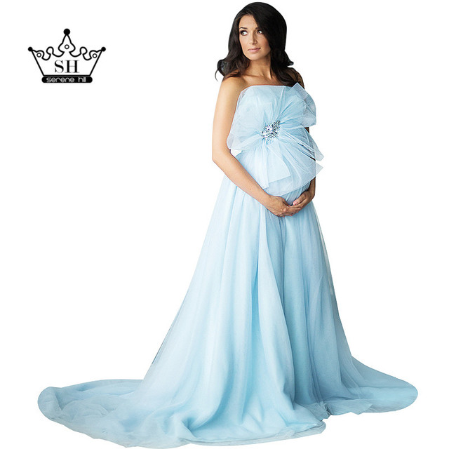 Элегантные без бретелек Голубой фотография Вечерние платья для беременных Для женщин мягкий тюль Длинные Арабский Праздничное платье настоящая фотография