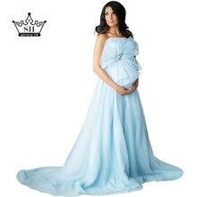 Elegant Strapless Light Blue Photograph Evening Dresses for Pregnant Women Soft Tulle Long Arabic Vestido De Festa Real Photo