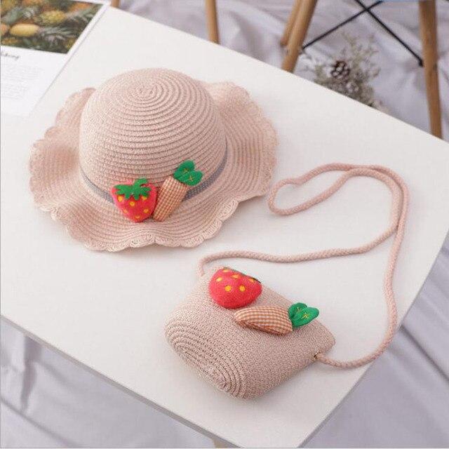 Chapeaux de paille pour enfants | Chapeaux dété pour soleil, fraises carotte pour enfants, chapeaux de plage pliables pour protection solaire, avec sac, nouvelle collection 2019