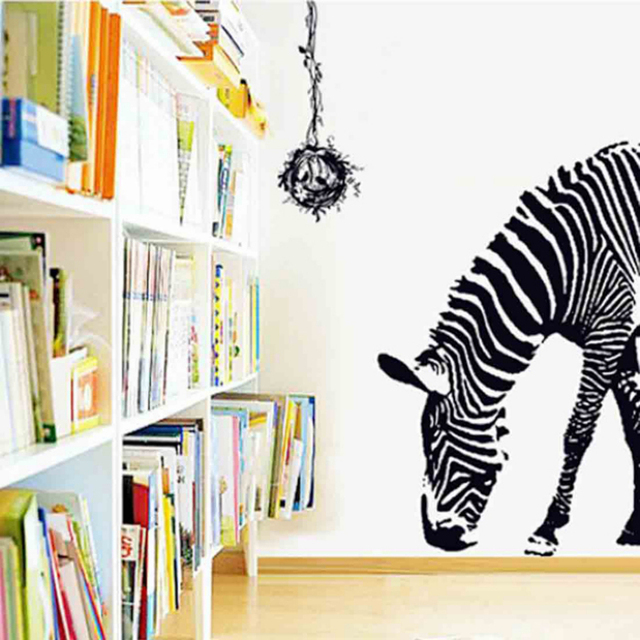 100*95cm Large PVC Wall Decals Black Zebra 3D Removable Animal Wall Stickers  ZY9030 Home Part 41